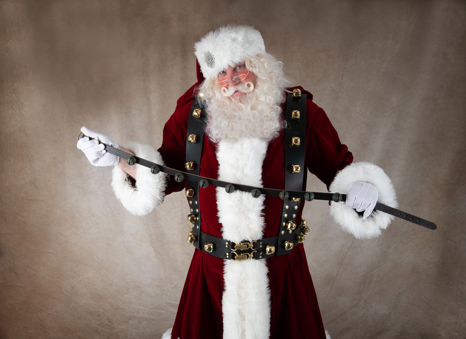 5b4ca5106eb Santa Sleigh Bells on Reins Black Leather 6' 10 Bells With Buckle ...